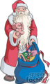 Santa Claus Holding a Blue Bag of Gifts