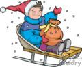 Happy Child Sledding in the Snow