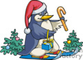 Penguin on Skis Wearing a Santa Hat