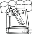 black and white cross lying on bible gif