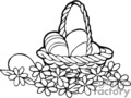 Black and White Handled Easter Basket full of Eggs Surrounded by Flowers