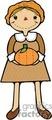Pilgrim women holding a pumpkin vector clip art image