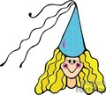 princess with a blue hat  vector clip art image