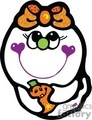colorful ghost girl with a bow on her head  holding a pumpkin