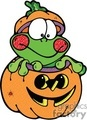 Cartoon frog sitting inside a pumpkin