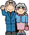 a happy older couple her holding her purse and he waiving