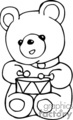 Black and white teddy bear playing the drums