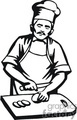 Black and white male chef slicing on a cutting board