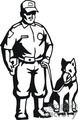 Black and white police officer with a K9