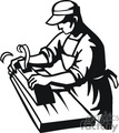 black and white outline of a man using a wood planer