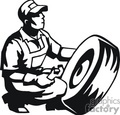 Black and white man working on a tire