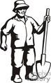 Black and white man holding a shovel