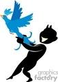 cartoon man holding a bird from flying away