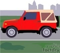 truck trucks autos vehicles jeep red 4x4   transportb011 clip art transportation land