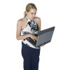 Teenage Girl Standing While Working on a Laptop Computer