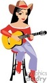 A Cowgirl Wearing a Red Shirt and Boots Sitting on a Stool Playing a Guitar