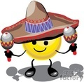 happy smiley face wearing a sombrero playing maracas
