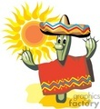 cartoon cactus in the sun wearing a poncho