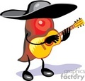 red habanero chile pepper wearing a black sombrero playing guitar