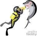 scuba diver filming a shark