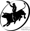 A Black and White Oval Picture of a Man Bull Riding
