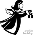 Black and White Floating Angel with a Gift