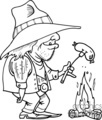black and white cowboy cooking a hot dog over a campfire
