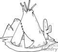 black and white teepee and cactus