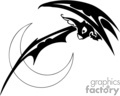 black and white scary bat swooping down against a crescent moon gif, png, jpg, eps