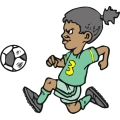 african american girl playing soccer.