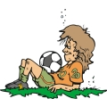 female soccer player resting after a hard game.