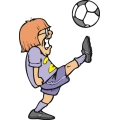Girl kicking a soccer ball as hard as she can.