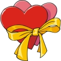 Two hearts held together by a yellow ribbon.