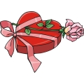 a Box of Chocolates With a Pink Ribbon and A Single Rose