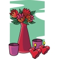 flowers in a vase with heart shaped candles. gif, png, jpg