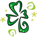 A Green Whimsical Three Leaf Clover