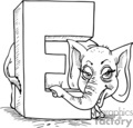 white letter e with an elephant