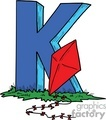 Cartoon letter K with a kite