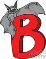Cartoon letter B and a vampire bat