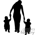Woman holding hands with two small small kids silhouettes