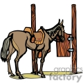 a horse that has a saddle walked up to a wooden saloon door