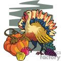 Turkey standing with a pumpkin