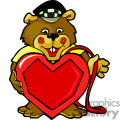 A Brown Bear Wearing a Taxi Hat Holding a Big Red Heart