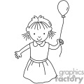 black and white happy small girl holding a single balloon