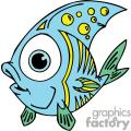 funny blue yellow and green little fish
