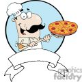 A Banner Of A Proud Chef Inserting A Pepperoni Pizza Blue Background
