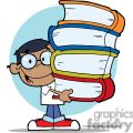 african american boy with colorful books in hishands gif, png, jpg, eps