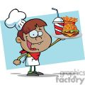 a happy african american boy chef holding up hamburger drink and french fries in front of a blue background