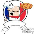 Banner Proud Chef Holds Up Pizza Pie In Front Of Flag Of France