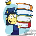 Graduation Asian Girl With Books In Their Hands With a Bee Buzzing Above